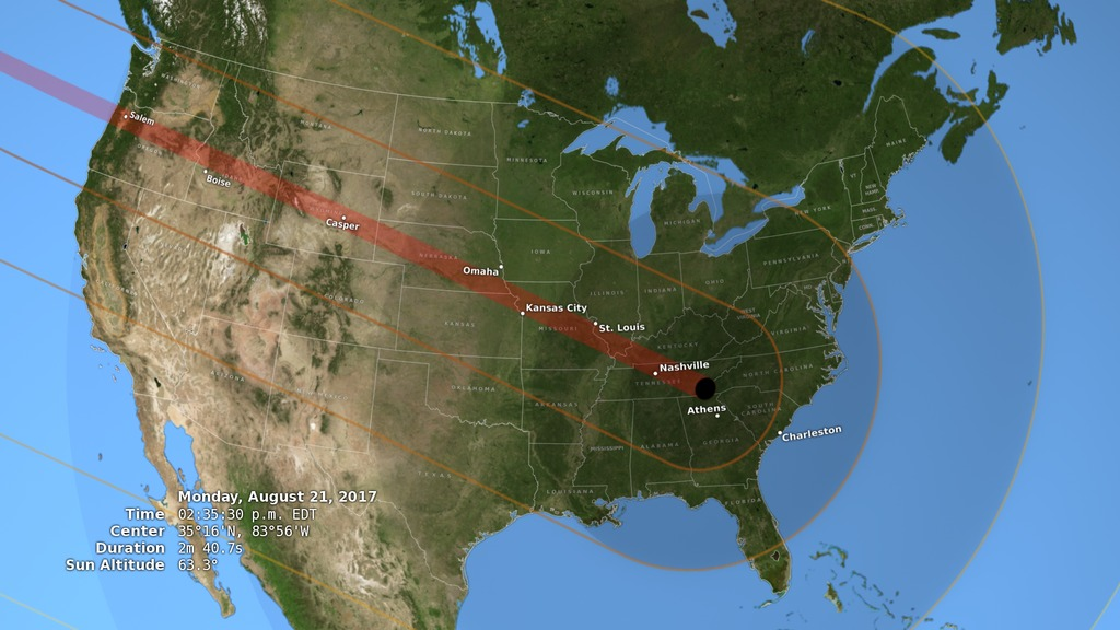 2017 Eclipse Usa Map.Svs 2017 Total Solar Eclipse In The U S
