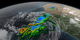 Print resolution still of Tropical Storm Fred's precipitation amounts both on the ocean surface and in the 3D structure of the storm. Precipitation colors ranging from green to red are liquid precipitation amounts. Precipitation colors in shades of blue are frozen precipitation.