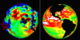 Two images from Eyes on the Earth: Gravity field is on the left, sea level is on the right. The user can rotate the planet to any desired location, zoom in and out, see NASA's entire fleet of Earth-observing satellites, set the speed with which time passes and select many different kinds of displays.