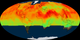 Mollweide projected animation of CO2 data from the OCO-2 mission. Data spans from September 2014 to August 2015. As the data cycles through the year, you can see an increase CO2 concentrations across the northern hemisphere going from winter to spring. Then in the summer, as vegetation reaches it's peak, there is a noticeable decline in CO2 concentration throughout the entire northern hemisphere.