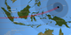 The animated shadow path of the March 9, 2016 total solar eclipse, showing the umbra (black oval), penumbra (concentric shaded ovals), and path of totality (red) through Indonesia and the western Pacific.