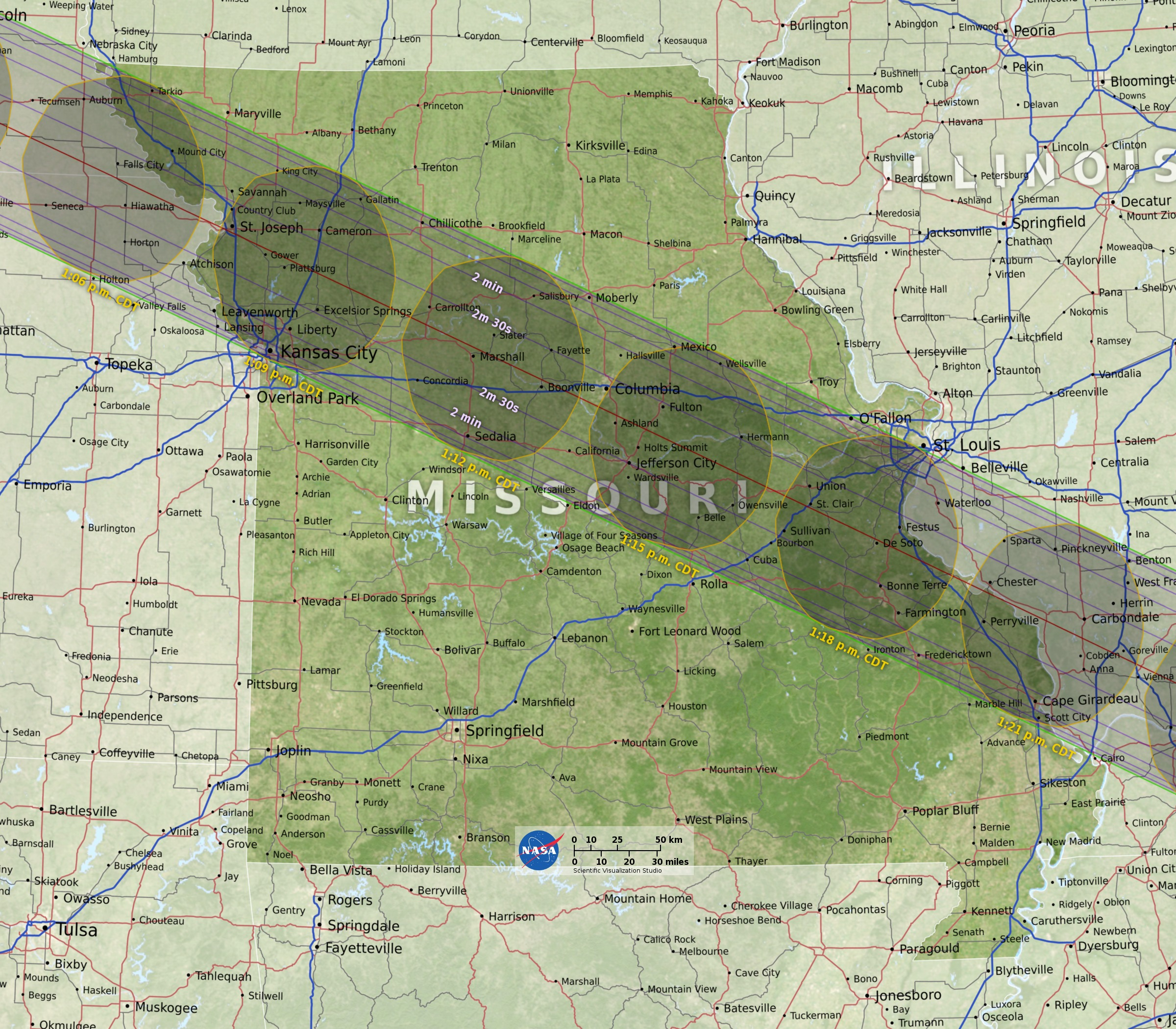 SVS Eclipse State Maps - Highway map of missouri