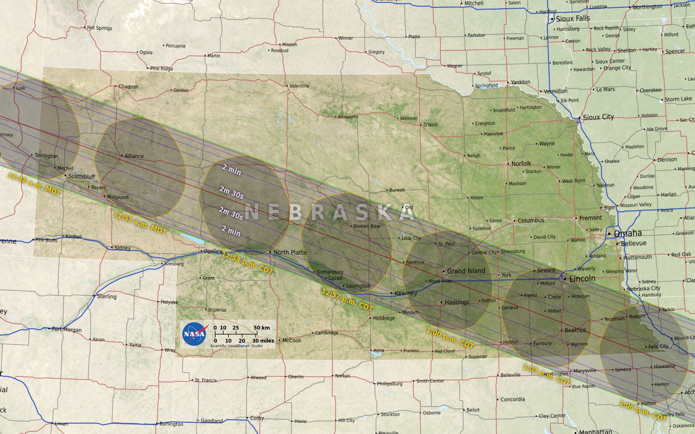 2017 Umbra Path of Totality at US scale