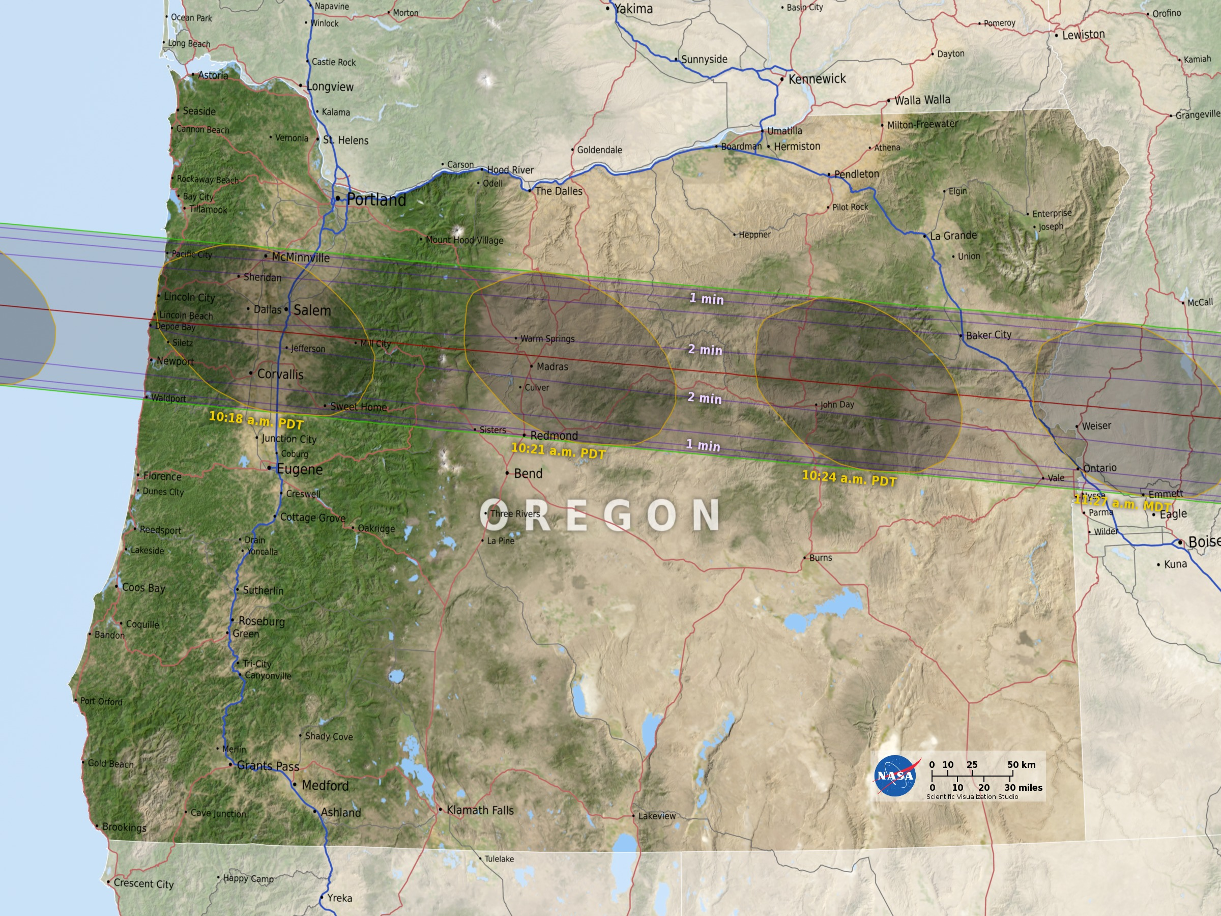 SVS Eclipse State Maps - Map of the state of oregon