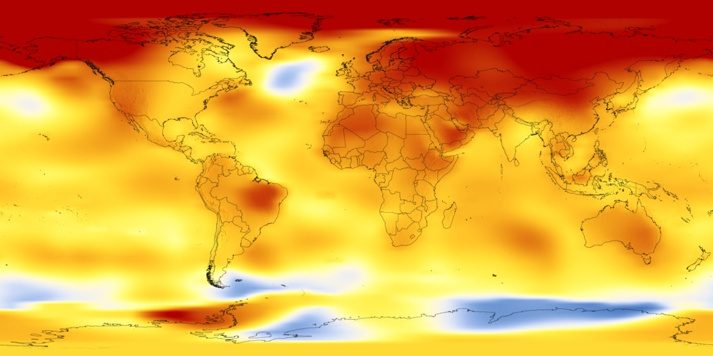 Svs Global Temperature Anomalies From 1880 To 2017 - Us-weather-map-celsius