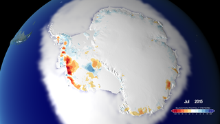 Link to Related Story entitled: 25 Years of Antarctic Land Ice Elevation Change Anomalies (West Coast Fly Over)