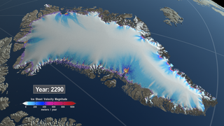 Link to Related Story entitled: Greenland View of Three Simulated Greenland Ice Sheet Response Scenarios: 2008 - 2300
