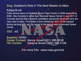 Video File as Goddard Prepares for MSL launch carrying The Sample Analysis at Mars instrument suite.
