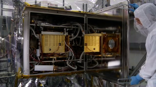 BROADCAST-QUALITY FOOTAGE: The SAM testbed, a complete, functioning duplicate of SAM, is instealled into the Mars chamber at Goddard Space Flight Center. There, the testbed will exist in a simulated Mars environment, where scientists and engineers can perform tests in the same environment as the flight hardware. HD footage codec: Apple ProRes 422