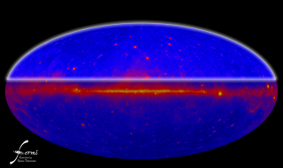 High resolution still of the Fermi 1-year all-sky map, higlighting the north galactic polar region.