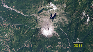 The 1980 eruption of Mount St. Helens leveled surrounding forest, blasted away over a thousand feet of the mountain's summit, and claimed 57 human lives. Landsat satellites have tracked the recovery of the surrounding forest.  This video shows that recovery, in a timelapse of annual images from 1979-2011.