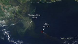 Timelapse Video :  This short video reveals a space-based view of the burning oil rig, the spill, and the location through April 1, 2011 . The MODIS instrument, on board NASA's Terra and Aqua satellites, captured images of the oil spill in the Gulf of Mexico. The spill began on April 20, 2010 with the explosion of the Deepwater Horizon oil rig. The oil slick appears grayish-beige in the images and changes due to changing weather, ocean currents, and the use of oil dispersing chemicals.