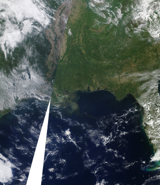 Terra Satellite view of the Oil Spill in the Gulf of Mexico. April 21, 2010