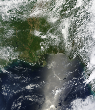 Terra Satellite view of the Oil Spill in the Gulf of Mexico. May 17, 2010
