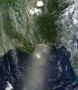 Terra Satellite view of the Oil Spill in the Gulf of Mexico. May 24, 2010