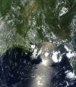 Terra Satellite view of the Oil Spill in the Gulf of Mexico. June 18, 2010