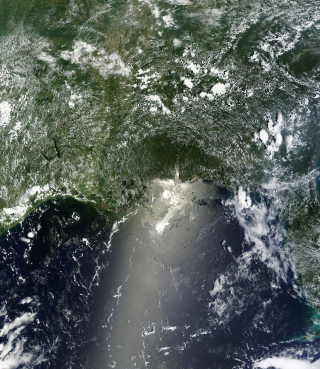 Terra Satellite view of the Oil Spill in the Gulf of Mexico. June 25, 2010