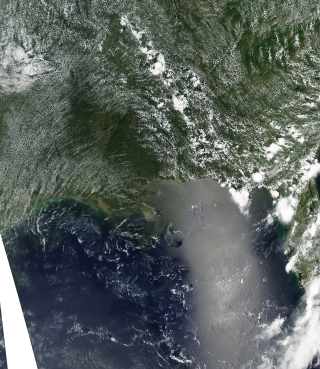 Aqua Satellite view of the Oil Spill in the Gulf of Mexico. July 14, 2010