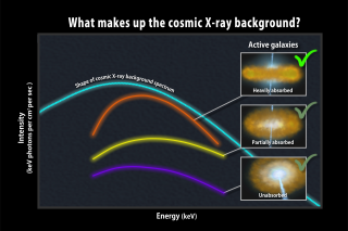 A newfound population of heavily absorbed active galaxies (orange curve) is thought to make the greatest contribution to the cosmic X-ray background (light blue). Both have similar spectral shapes and peak at similar energies. Adding in the known contributions from less-absorbed active galaxies (yellow and purple), appears to fully account for the background.