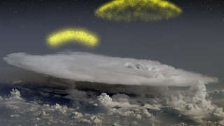 Artist interpretation of electrons accelerating upwards from a thunderhead.