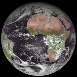 This image from the Meteosat 9 weather satellite was taken on Dec. 14, 2009, about 7 minutes after Fermi detected positrons from a TGF. No storms are present over Egypt, where Fermi was located at the time of the event, but thunderstorms are plentiful over Zambia. Credit: SSEC/Univ. of Wisconsin, Madison