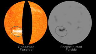 Farside direct observations from STEREO (left) and simultaneous helioseismic reconstructions (right). Medium to large size active regions clearly appear on the helioseismic images, however the smaller ones fall within the noise level. STEREO observations of the far-side will help calibrate and further improve the helioseismic technique.Credit: NASA/Goddard Space Flight Center/SECCHI/GONG(NSO/NSF)/HMI