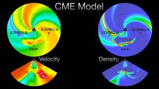 The critical observations from STEREO and SDO will help provide accurate and timely space weather storm warnings, and will aid greatly in our efforts to protect the technologies we have become so dependent in our daily activities. Measurements of coronal mass ejections from the STEREO spacecraft provide vital input for NOAA's space weather forecasters. Enlil is the first operational physics-based numerical space weather prediction model. Using STEREO input, the model computes the trajectory of solar storms between Sun and Earth, and provides forecasts of geomagnetic storms out to 96 hours. Credit:WSA-Enlil Model: NOAA in partnership with AFW, AFRL (Nick Arge, WSAdeveloper), George Mason University (Dusan Odstrcil, Enlil modeldeveloper), NASA, NSF, and NRL.