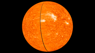 Rotating solar sphere using 304 Angstrom Ultraviolet light.  This image is from February 6, 2011 and does not use any interpolation so there is a slight gap in coverage.