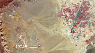 Timelapse animation of the western half of Las Vegas, Nevada, from 1972-2013, as captured by Landsat sensors.  The images are in false-color, showing healthy vegetation in red. Music, no narration.