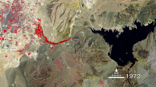 Timelapse animation of Lake Mead and the city of Las Vegas, Nevada, from 1972-2013, as captured by Landsat sensors.  The images are false-color, showing healthy vegetation in red. Music, no narration.