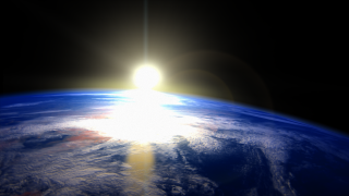 Animation depicting the sun rising from Earth orbit.