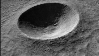 Animation depicting a flyover of the Linn? Crater on the moon.