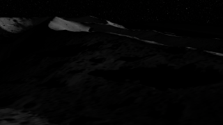 Animation depicting a flyover of a simulated moon surface.