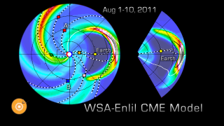 Simulation created by the Community Coordinated Modeling Center using the WSA-Enlil model of the solar wind.  It shows an August 2011 CME and how it distorts the sun's magnetic field as it moves through it. Credit: NASA/Goddard Space Flight Center/CCMC