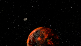 Animation depicting a meteorite heading toward an early Earth.
