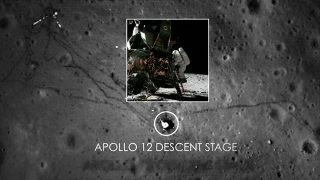 Visualization of the Apollo 12 descent stage as seen by the Lunar Reconnaissance Orbiter Camera (LROC).