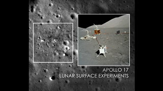 Visualization of the Apollo 17 Lunar Surface Experiments Package (ALSEP) as seen by the Lunar Reconnaissance Orbiter Camera (LROC).