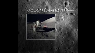 Visualization of the Apollo 17 lunar rover as seen by the Lunar Reconnaissance Orbiter Camera (LROC).