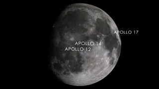Visualization showing the locations of the Apollo 12, 14, and 17 sites on the moon.