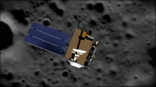 Animation showing the Lunar Reconnaissance Orbiter (LRO) flying over the moon's surface.