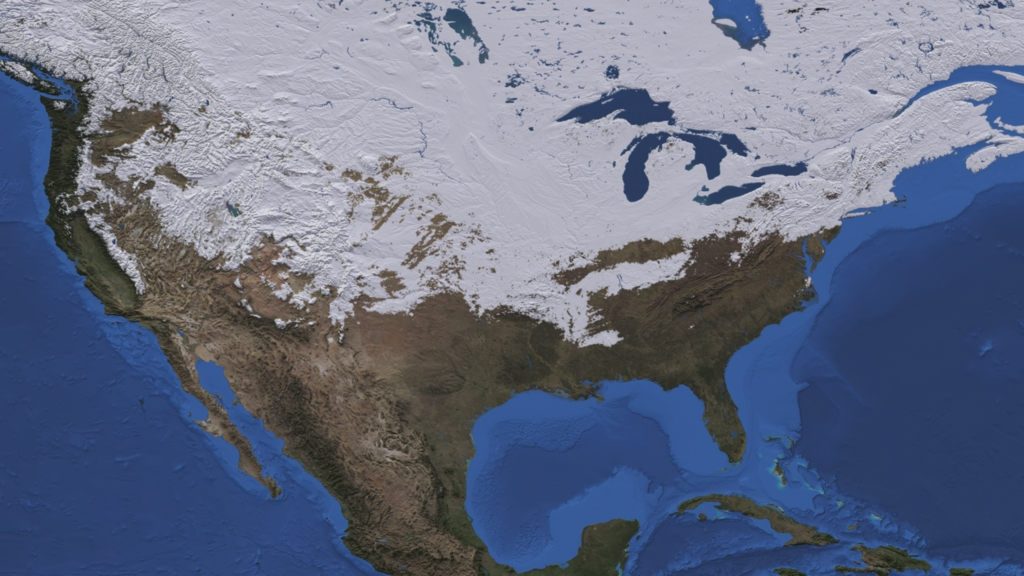 Nasa Viz Let It Snow: Map Of Snow Cover In North America At Usa Maps