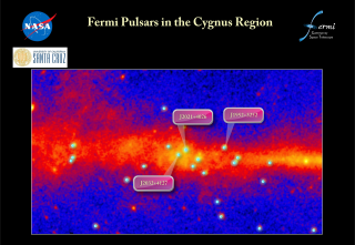 In the region of the sky that includes the constellation Cygnus, only one gamma-ray pulsar (J1952+3252) was known. Fermi now reveals a passel of pulsars in the area. These include J2021+4026, the long-sought pulsar associated with the Gamma Cygni supernova remnant. This radio-quiet pulsar was first detected as a bright source of gamma rays by the European Space Agency's COS-B satellite roughly 30 years ago. Credit: NASA/DOE/Fermi LAT Collaboration