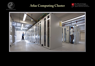 Pulsar candidates from the blind search were analyzed in detail using the Atlas computing cluster at the Albert Einstein Institute in Hannover, Germany. Atlas is as powerful 3,500 typical desktop computers and brings to bear about a hundred times more computing power than that used in previous blind searches. Credit: Albert Einstein Institute