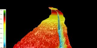 Three dimensional perspective view of preliminary ATM T4 elevation liar data over the Pine Island Glacier Rift flown by NASA's DC-8 aircraft on Oct. 26, 2011, with color bar.  The colors represent the elevation (meters) above sea level).