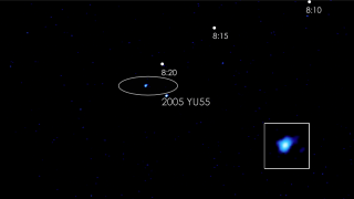 Asteroid 2005 YU55 whisks through the field of view of Swift's Ultraviolet/Optical Telescope (UVOT) on Nov. 9, just hours after the space rock made its closest approach to Earth. The video plays on a background image from the Digital Sky Survey that shows the same region, which lies within the Great Square asterism of the constellation Pegasus (times UT). Credit: NASA/Swift/Stefan Immler and DSS