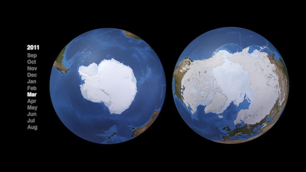 NASA Viz: Snow Leads, Sea Ice Follows