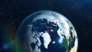 The transpolar drift (purple arrows) is a dominant circulation feature in the Arctic Ocean that carries freshwater runoff (red arrows) from rivers in Russia across the North Pole and south towards Greenland. 