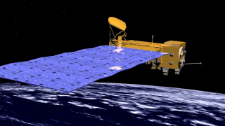 A conceptual animation of the Aqua spacecraft in orbit.