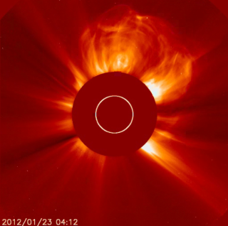The Solar Heliospheric Observatory captured the coronal mass ejection (CME) in this video (which shows the sun's activity from January 19 to January 23). The end of the movie shows the interference caused by the onslaught of fast, energetic solar particles emitted from the sun. Credit: SOHO/ESA & NASA