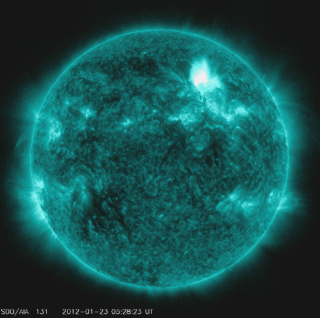Solar Dynamics Observatory captured the flare, shown here in teal as that is the color typically used to show light in the 131 Angstrom wavelength. The flare began at 10:38 PM ET on Jan. 22, peaked at 10:59 PM and ended at 11:34 PM. Credit: NASA/SDO/AIA